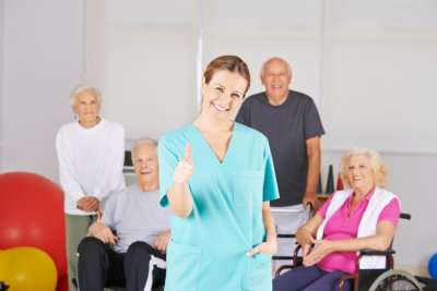 caregiver giving thumbs up